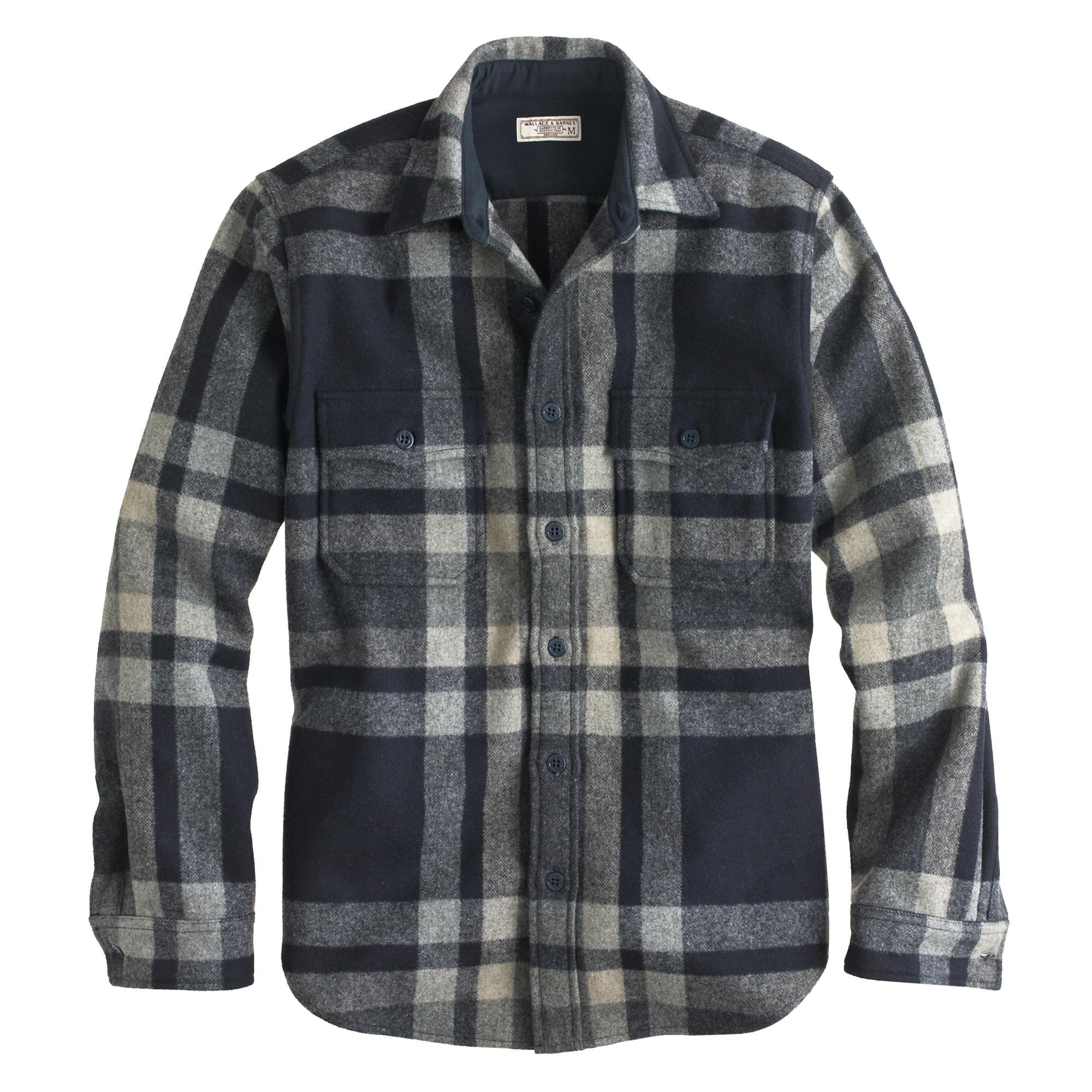 Wallace barnes plaid cpo shirt jacket j crew for Plaid shirt jacket mens