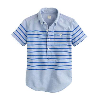 Boys' short-sleeve engineered-stripe popover