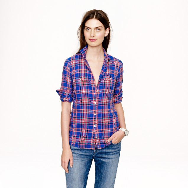 Boy shirt in tropical cove plaid
