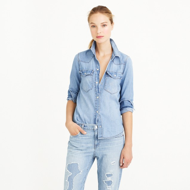 Denim western shirt in pale indigo