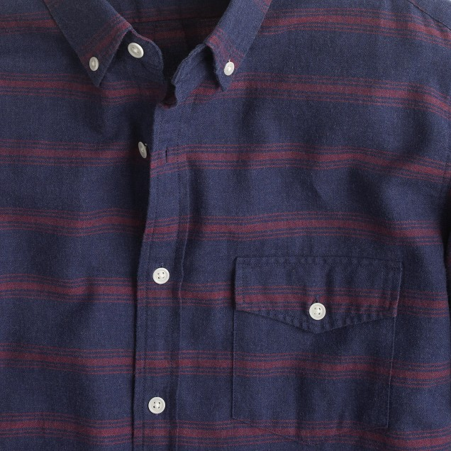 Tall brushed twill shirt in horizontal stripe