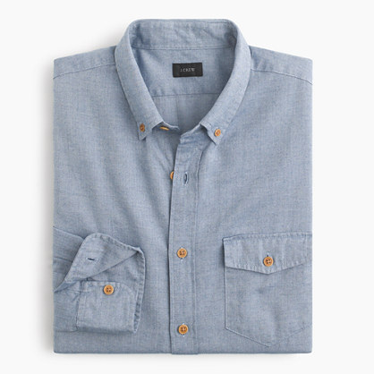 Tall brushed twill shirt in mini-herringbone