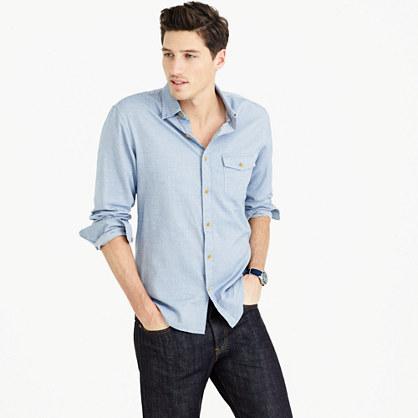 Brushed twill shirt in mini-herringbone