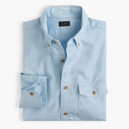 Slim brushed twill shirt in mini-herringbone