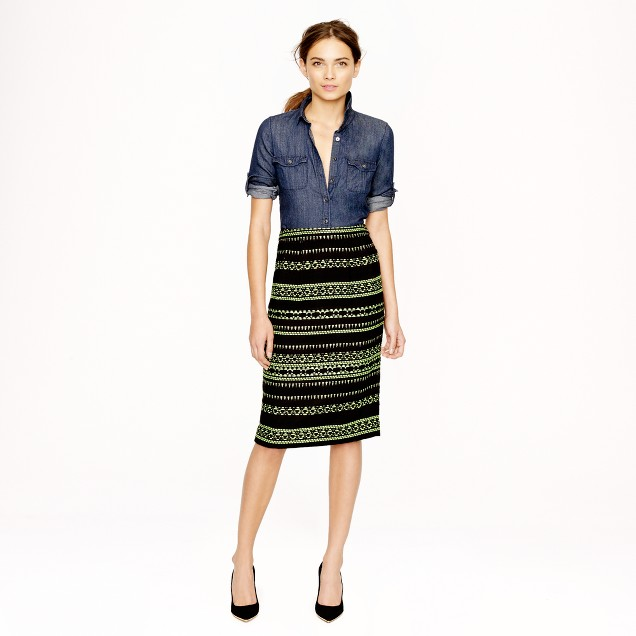 Collection glow-stripe jacquard pencil skirt