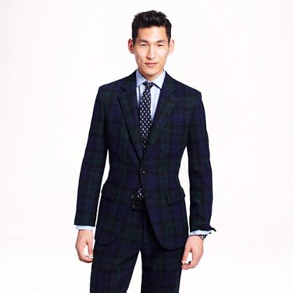 Ludlow fielding suit jacket in Black Watch Harris Tweed wool