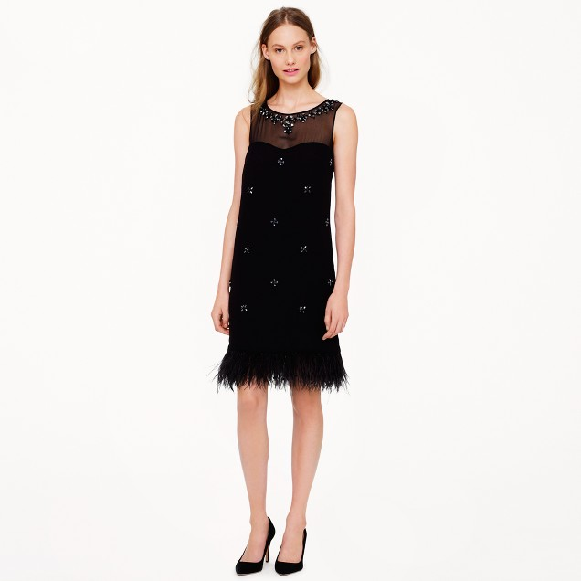 Collection beaded feather dress