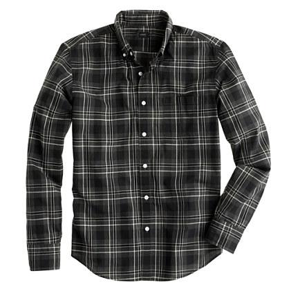 Secret Wash shirt in heathered wild blackberry plaid