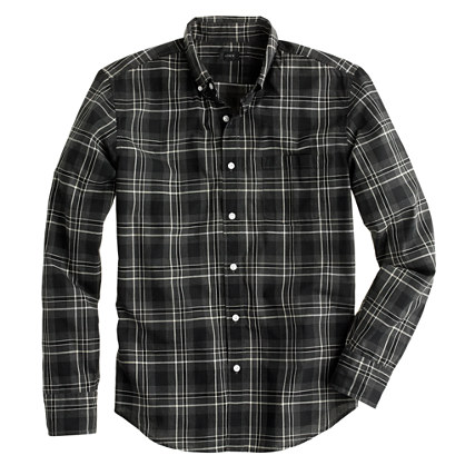 Tall Secret Wash shirt in heathered wild blackberry plaid
