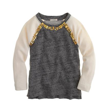 Girls' embellished baseball sweatshirt