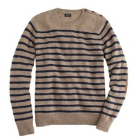 Rustic merino elbow-patch sweater in stripe