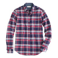 Wallace & Barnes woodshop flannel shirt in navy twilight plaid
