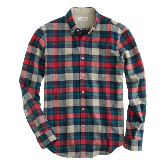 Wallace & Barnes woodshop flannel shirt in chili powder plaid