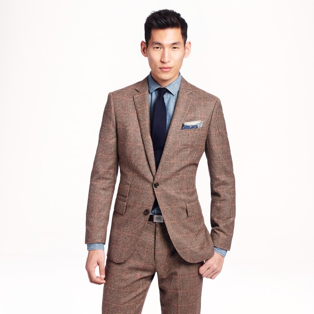 Ludlow suit jacket with double vent in glen plaid English wool