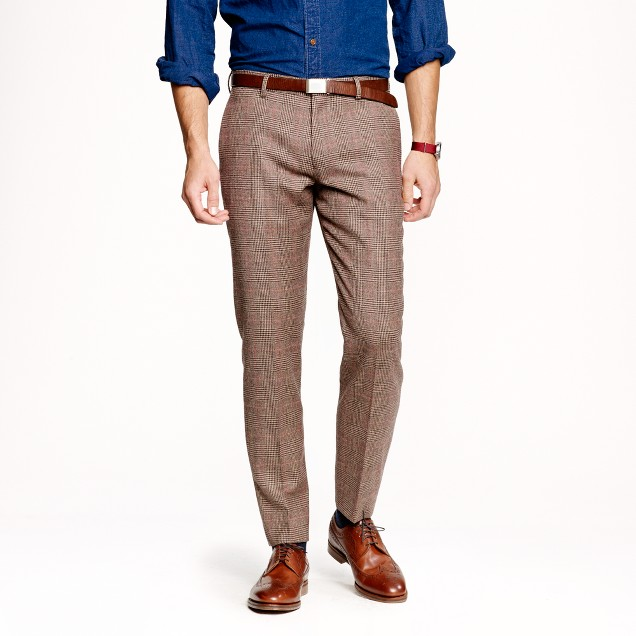 Ludlow slim suit pant in glen plaid English wool