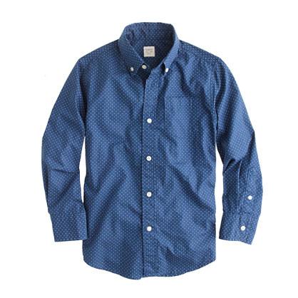 Boys' pindot poplin shirt