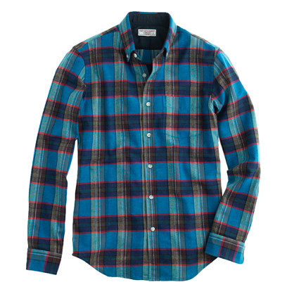 Wallace & Barnes woodshop flannel shirt in Chatham bay plaid