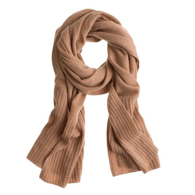 Cashmere rib-trim scarf