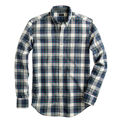 Secret Wash shirt in peacock blue plaid