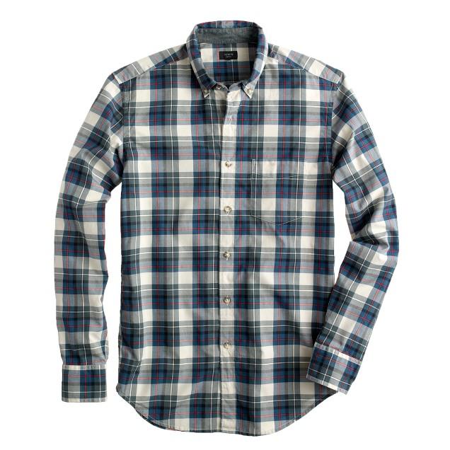 Secret Wash shirt in peacock blue plaid