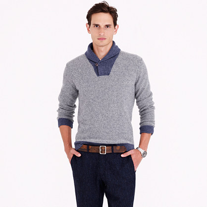 Lambswool shawl-collar sweatshirt