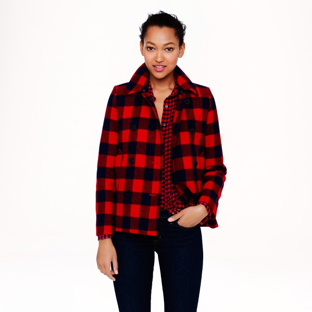 Buffalo check peacoat