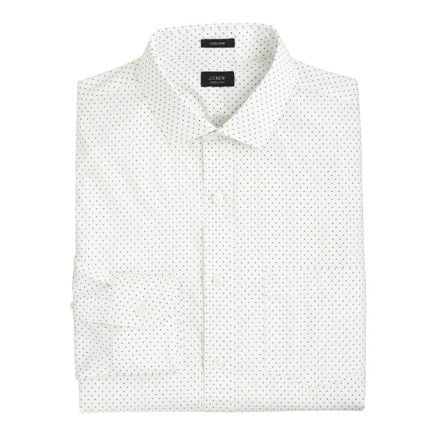 Ludlow spread-collar shirt in dot print