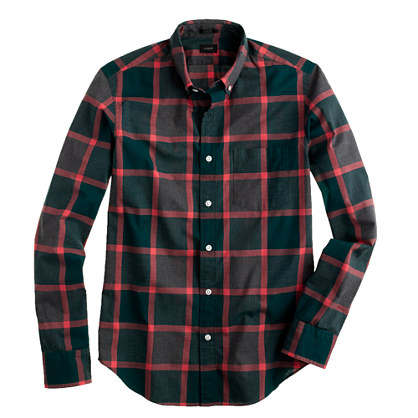 Slim Secret Wash shirt in heathered forest plaid