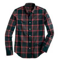 Slim Secret Wash shirt in heathered forest plaid