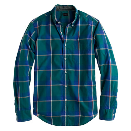 Secret Wash shirt in faded jade plaid