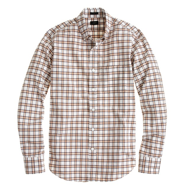 Slim Secret Wash shirt in warm caramel plaid