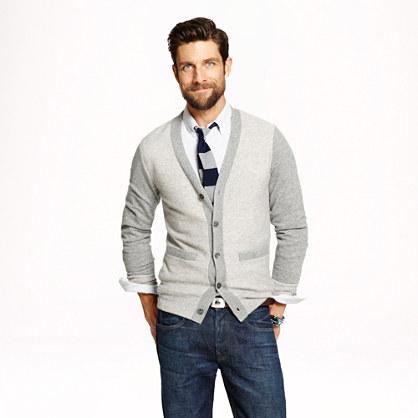Cashmere reverse jacquard cardigan