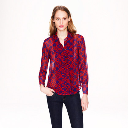 Collection secretary blouse in Ratti trellis print