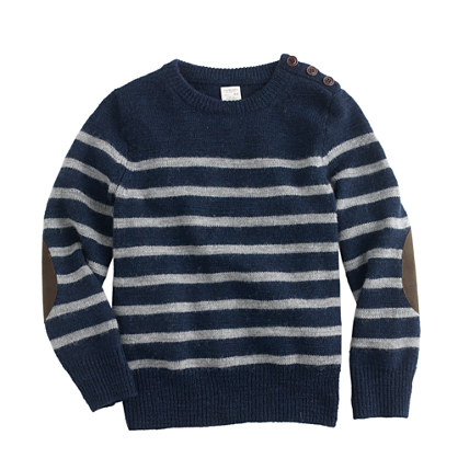 Boys' stripe elbow-patch sweater