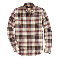 Slim vintage oxford shirt in linen plaid