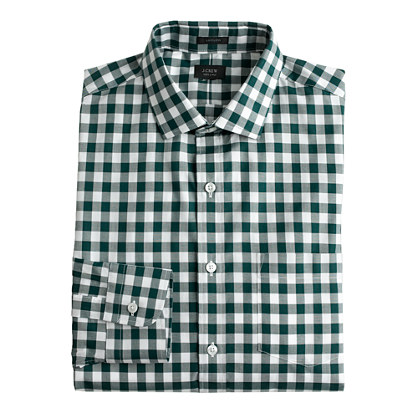 Ludlow spread-collar shirt in deep forest gingham