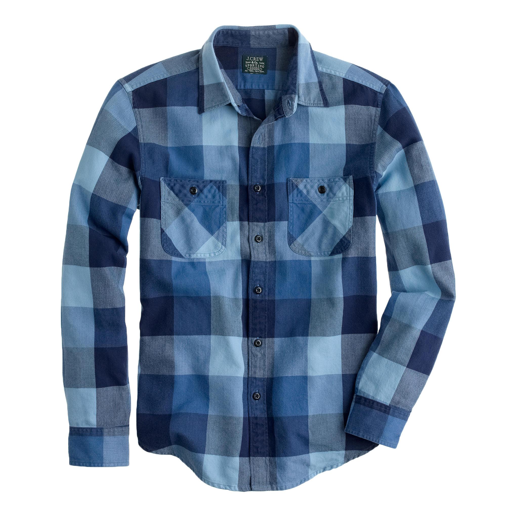 Flannel shirt in warm indigo herringbone plaid j crew for Mens warm flannel shirts