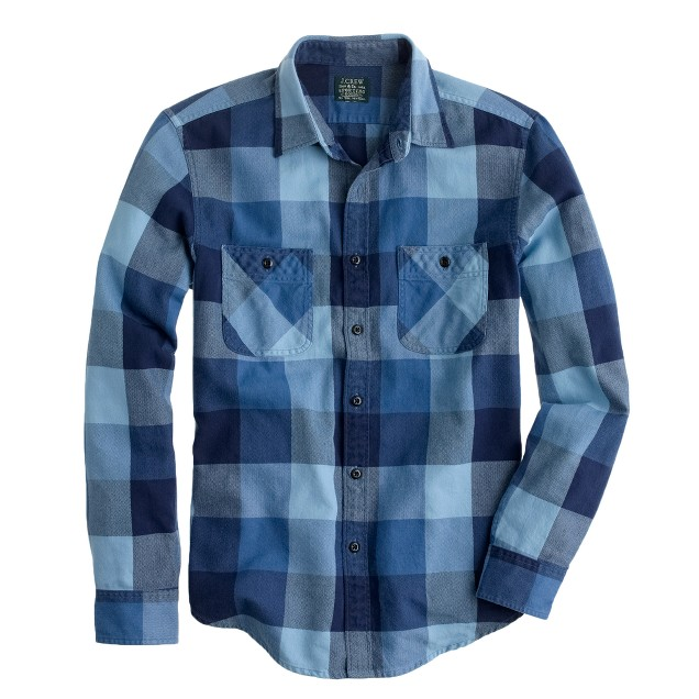 Tall flannel shirt in warm indigo herringbone plaid