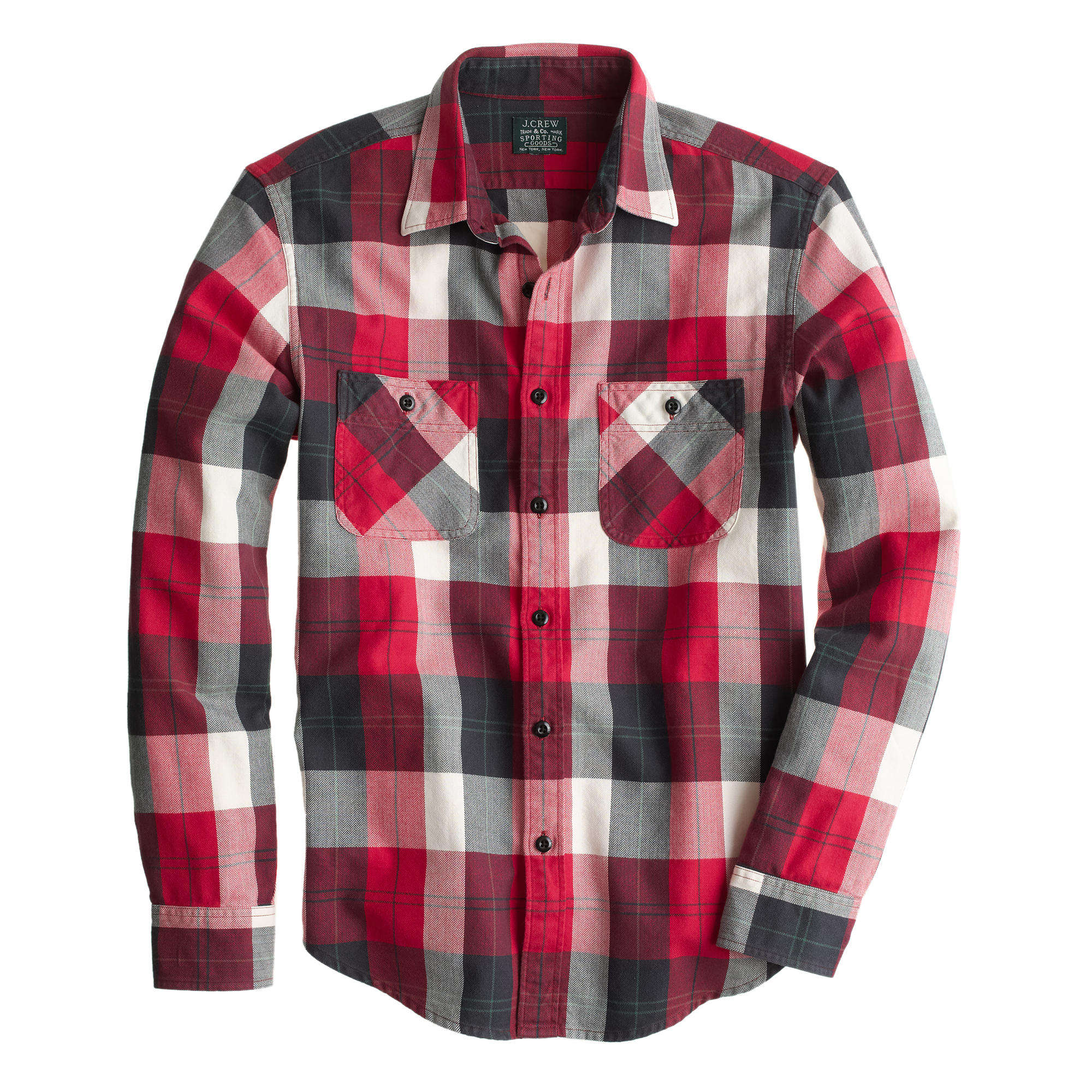slim flannel shirt in chili powder herringbone plaid j