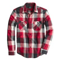 Flannel shirt in chili powder herringbone plaid