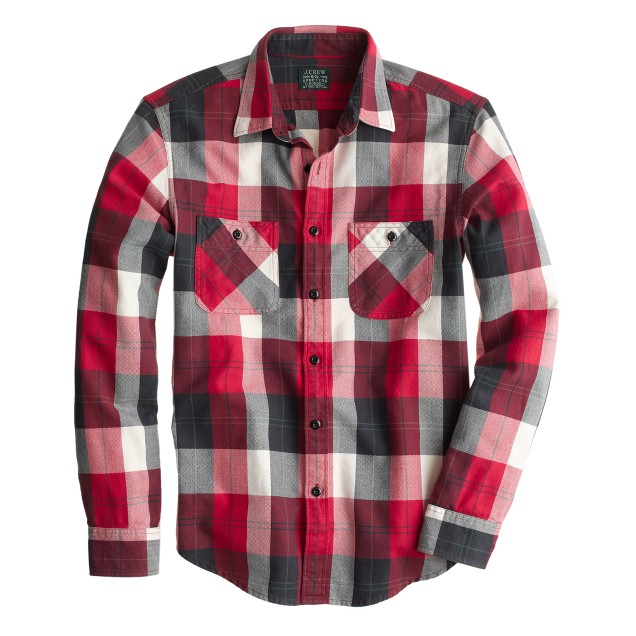 Flannel shirt in chili powder herringbone plaid j crew for How to wash flannel shirts