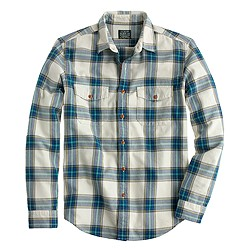 Flannel shirt in faded chino herringbone plaid