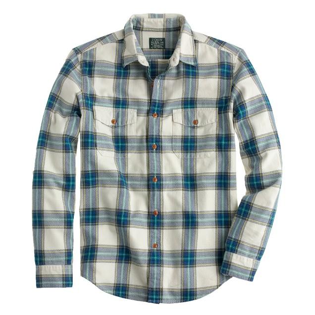Slim flannel shirt in faded chino herringbone plaid