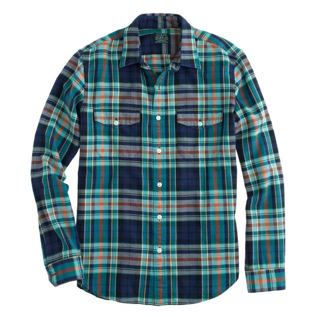 Flannel shirt in blue herringbone plaid