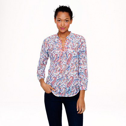 Liberty embroidered bib peasant top in Aaron paisley