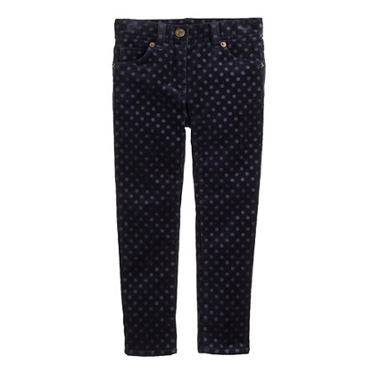 Girls' toothpick jean in velvet dot