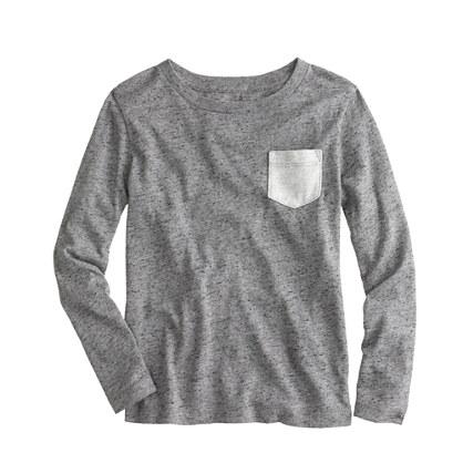Boys' long-sleeve heathered contrast pocket tee