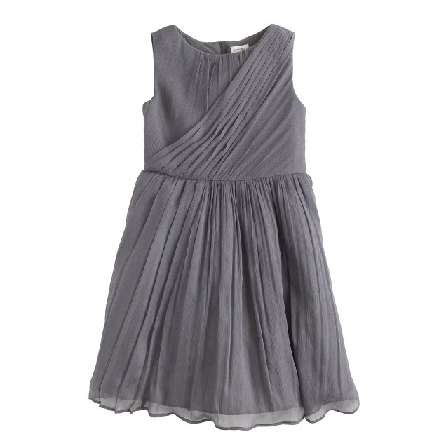 Girls' draped dress in crinkle chiffon