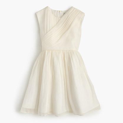 Girls' draped dress in crinkle chiffon