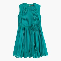 Girls' rosette dress in crinkle chiffon